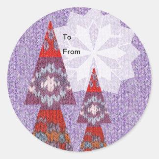 ニットのセーターのクリスマスツリーのギフトのラベルのステッカー ラウンドシール