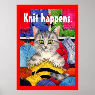 ニットはかわいい猫の編み物ポスター起こります ポスター