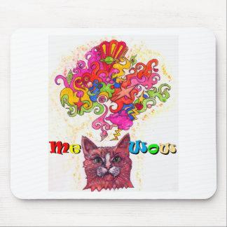 ニャーと鳴くサイケデリックな猫 マウスパッド
