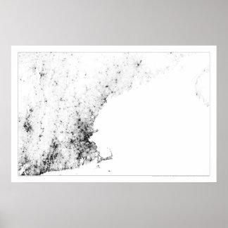 ニューイングランドの人口調査Dotmap ポスター