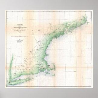 ニューイングランド(1864年)の沿岸地図-改善されたTXT ポスター