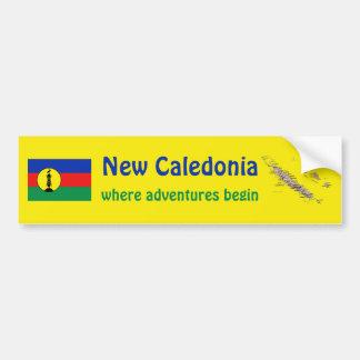 ニューカレドニアの旗 + 地図のバンパーステッカー バンパーステッカー