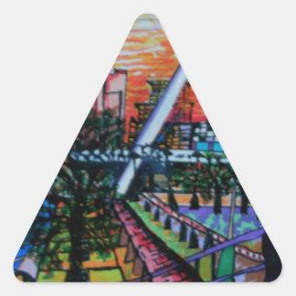 ニューキャッスルからのGatesheadの千年間橋 三角形シール
