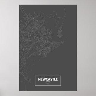 ニューキャッスル、オーストラリア(黒で白い) ポスター