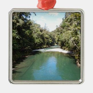 ニューギニアの熱帯雨林そして川 メタルオーナメント