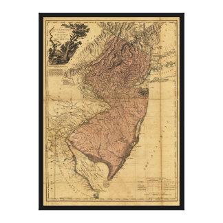 ニュージャージーの地図(1777年)の地域 キャンバスプリント
