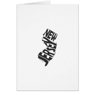 ニュージャージーの州の名前の単語の芸術の黒の挨拶 カード