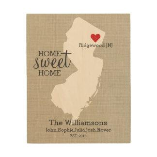 ニュージャージーの州愛カスタムな姓は確立します ウッドウォールアート