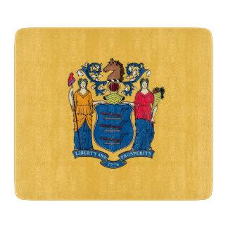 ニュージャージーの旗を持つ小さいガラスまな板 カッティングボード