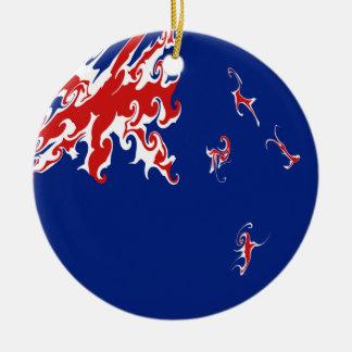 ニュージーランドのすごい旗 陶器製丸型オーナメント