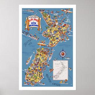 ニュージーランドのヴィンテージ旅行地図 ポスター