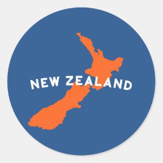 ニュージーランドの国のシルエット ラウンドシール