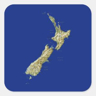 ニュージーランドの地図のステッカー スクエアシール