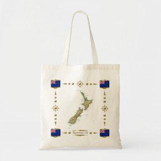 ニュージーランドの地図 + 旗のバッグ トートバッグ