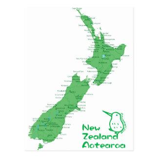 ニュージーランドの地図 葉書き