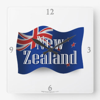ニュージーランドの振る旗 スクエア壁時計