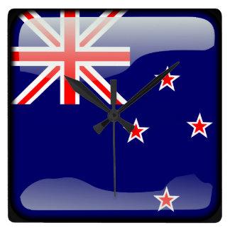 ニュージーランドの旗 スクエア壁時計