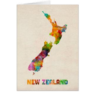 ニュージーランドの水彩画の地図 カード