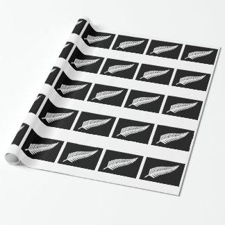 ニュージーランドの銀製シダの旗 ラッピングペーパー