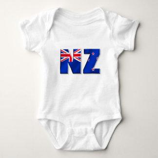 ニュージーランドのNZのロゴの旗 ベビーボディスーツ