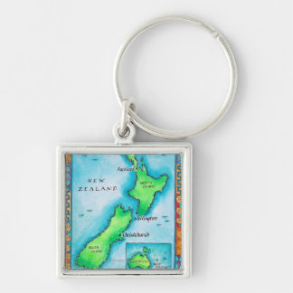 ニュージーランド2の地図 キーホルダー