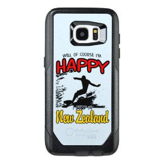 ニュージーランド(Blk)幸せなサーファー オッターボックスSamsung Galaxy S7 Edgeケース