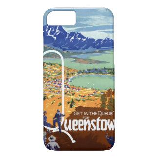 ニュージーランドQueenstownのヴィンテージ旅行ポスター iPhone 8/7ケース