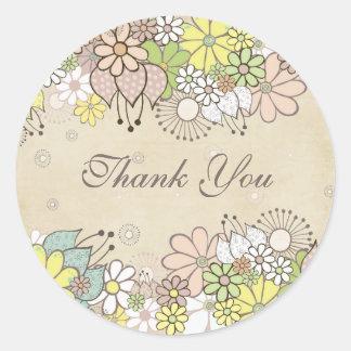 ニュートラルの開花の白いギフトはラベルのステッカー感謝していしています 丸型シール