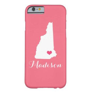 ニューハンプシャーのハートのピンクのカスタムのモノグラム BARELY THERE iPhone 6 ケース