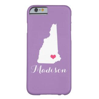 ニューハンプシャーのハートの薄紫のカスタムのモノグラム BARELY THERE iPhone 6 ケース