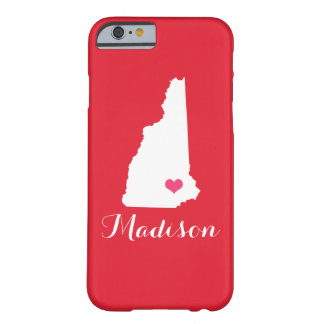 ニューハンプシャーのハートの赤くカスタムなモノグラム BARELY THERE iPhone 6 ケース