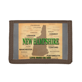 ニューハンプシャーのヴィンテージの地図 ナイロン三つ折りウォレット