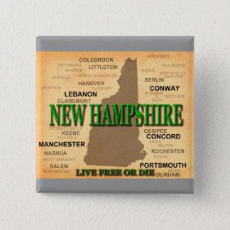 ニューハンプシャーのヴィンテージの地図 缶バッジ