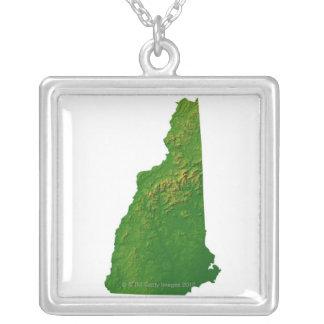 ニューハンプシャーの地図 シルバープレートネックレス