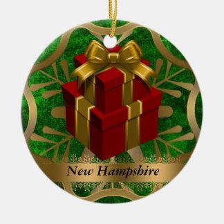 ニューハンプシャーの州のクリスマスのオーナメント セラミックオーナメント