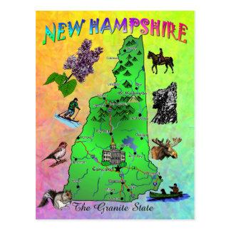 ニューハンプシャーの州の地図カード ポストカード