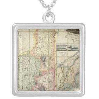 ニューハンプシャーのCarrigainの地図 シルバープレートネックレス