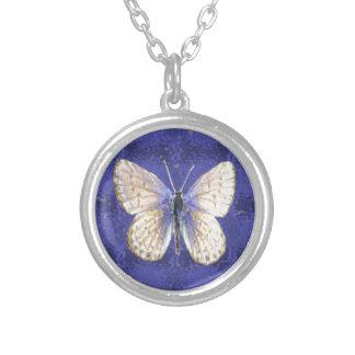 ニューハンプシャーKarnerの青の蝶 シルバープレートネックレス