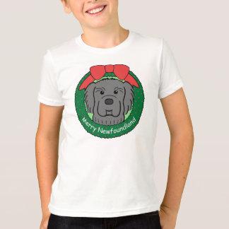 ニューファウンドランドのクリスマス Tシャツ