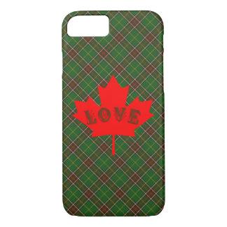 ニューファウンドランドのタータンチェック格子縞の電話箱愛カナダ iPhone 8/7ケース