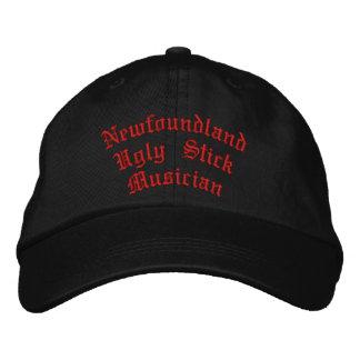 ニューファウンドランドの醜い棒のミュージシャン 刺繍入りキャップ