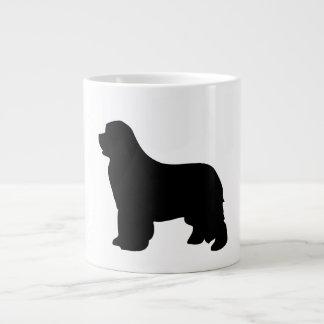 ニューファウンドランド犬のジャンボマグ、黒いシルエット ジャンボコーヒーマグカップ