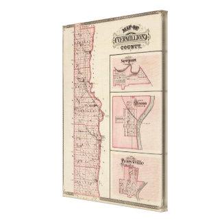 ニューポートが付いているVermillion郡の地図 キャンバスプリント