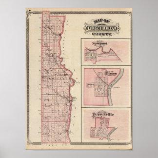 ニューポートが付いているVermillion郡の地図 ポスター