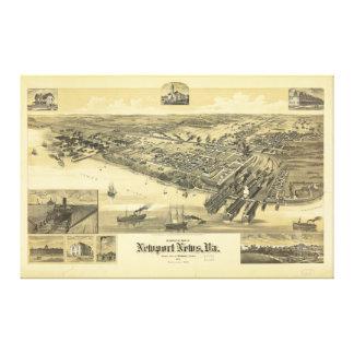 ニューポートのニュースのヴァージニアWarwick郡地図1891年 キャンバスプリント