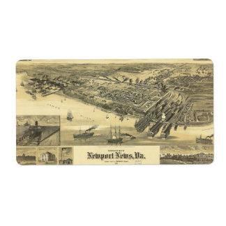 ニューポートのニュースのヴァージニアWarwick郡地図1891年 ラベル