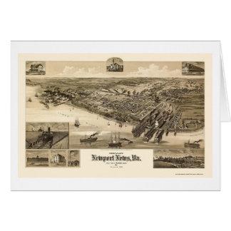 ニューポートのニュース、VAのパノラマ式の地図- 1891年 カード