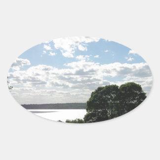 ニューポートの空及び水の美しい眺め 楕円形シール