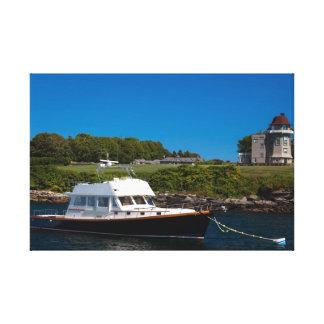ニューポートのRI港のパワーボート キャンバスプリント