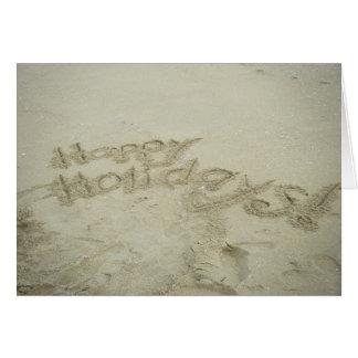 ニューポートビーチの砂で書かれる幸せな休日! カード
